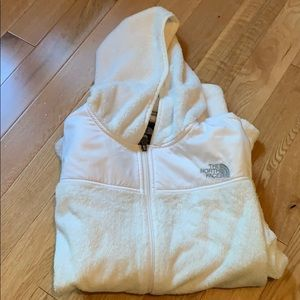 North Face white fuzzy jacket excellent condition!